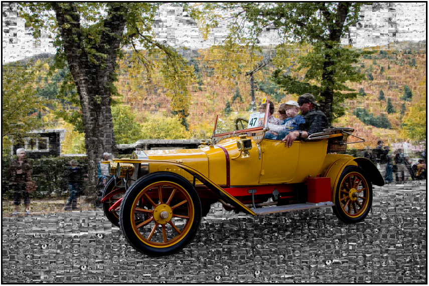 Vintage Car, autumn festival 2012 Arrowtown, Susan Cleaver, Artist, mozaics, mandalas, collage, stock photos, digital art and more, experiencing the visual element of nature through photography