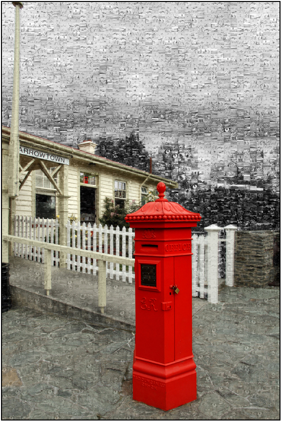 building mozaic, post box arrowtown, Susan Cleaver, Artist, mozaics, mandalas, collage, stock photos, digital art and more, experiencing the visual element of nature through photography