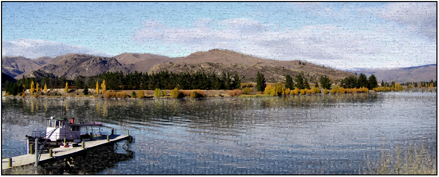 scenic mozaic, lake dunstan cromwell, Susan Cleaver, Artist, mozaics, mandalas, collage, stock photos, digital art and more, experiencing the visual element of nature through photography