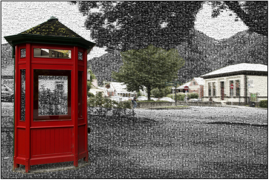 telephone box arrowtown, Susan Cleaver, Artist, mozaics, mandalas, collage, stock photos, digital art and more, experiencing the visual element of nature through photography