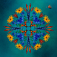 blue, moody art, flowers, floral art, tropical flowers, dragonfly art, photo artist, image manipulation, photo art, susan cleaver artist, mandala, moziac, collage art